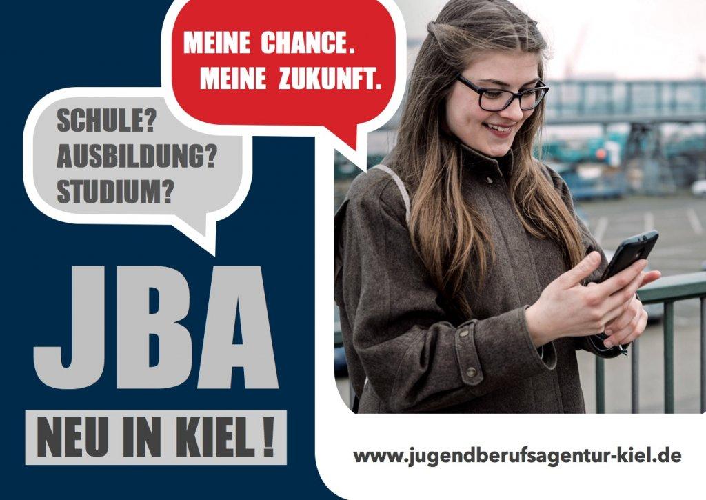 Postkarte JBA mit Webadresse www.jugendberufsagentur-kiel.de