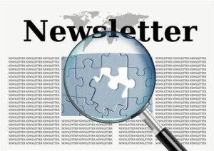 """Lupe per Zeituung mit dem titel """"Newsletter"""""""