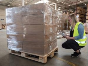 Eine Fachrkaft für Lagerlogistik prüft die Labels auf Kartons, die auf einer Palette gestapelt sind