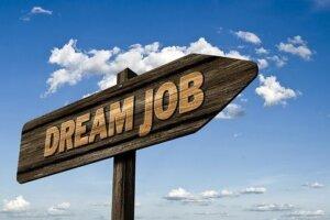 Wegweiser mit Aufschrift 'DREAM JOB'